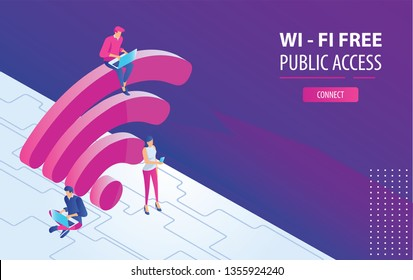 Isometric People working on laptops sitting on a big wifi sign in the free internet zone. Free wifi hotspot, public assess zone, portabe device concept background. Vector 3d Illustration, landing page