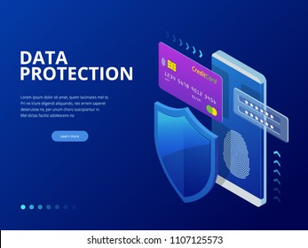 Isometric personal data protection web banner concept. Cyber security and privacy. Traffic Encryption, VPN, Privacy Protection Antivirus. Vector illustration.