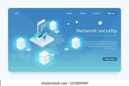 Isometric personal data protection web banner concept. Digital data secure and data security concept. cyber security Landing page template. Concept big data processing, energy station of future