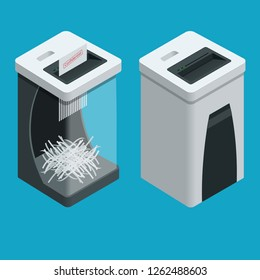 Isometric Personal Paper Shredder. Two Documents shredders with paper inside isolated on the background.