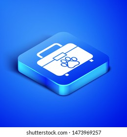 Isometric Pet first aid kit icon isolated on blue background. Dog or cat paw print. Clinic box. Blue square button. Vector Illustration