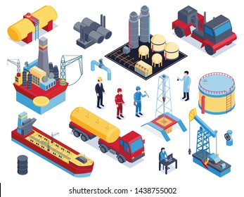 Isometric petroleum industry icon set with tools and equipment for oil production derricks machines workers vector illustration