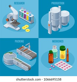 Isometric pharmaceutical industry square composition with microscope tubes production and packing equipment medical pills drugs medicines isolated vector illustration