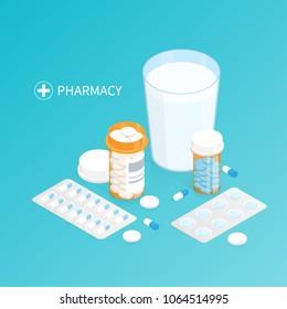 isometric pharmacy medicine pills bottle,glass of water swallow pills vector