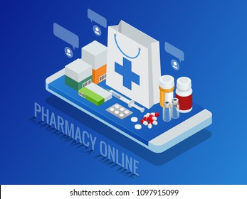 Isometric pharmacy online concept. Finger touch pay button on screen for medicine online payment via application. Pills on smartphone vector illustration