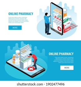 Isometric pharmacy set of horizontal banners with more buttons text and images of smartphones and meds vector illustration