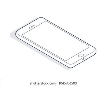Isometric phone isolated on white background. Isometric line art. Vector