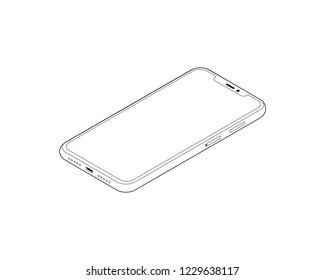 Isometric phone isolated on white background. Isometric line art.