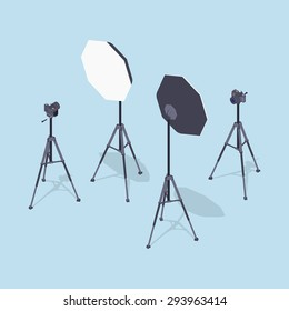 Isometric photo cameras, tripods and softboxes. Illustration suitable for advertising and promotion