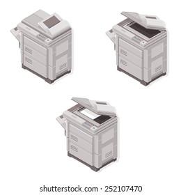 Isometric Photocopier. Photocopier Machine. Isometric Photocopier Machine open and closed.