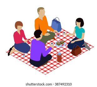 Isometric picnic isolated in white. Isometric checkered tablecloth, Isometric people on the picnic.. People on the picnic. four people on the picnic isometric