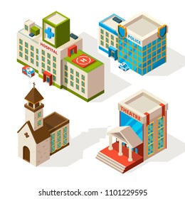 Isometric pictures of municipal buildings. Vector 3d architecture isolate on white. Illustration of police and hospital, church and theatre