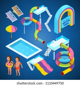 Isometric pictures of water park. Various attractions at swimming pools. Attraction and recreation entertainment aquapark. Vector illustration