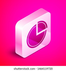 Isometric Pie chart infographic icon isolated on pink background. Diagram chart sign. Silver square button. Vector Illustration