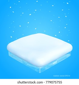 Isometric piece of snow. Realistic vector 3d icon of a snowdrift with a cut of transparent ice. Blizzard or snowfall over the square frozen pillow. Isolated  perspective template for the winter sale.