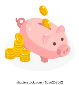 Isometric piggy bank with coins money cash isolated on white background. Icon piggy bank in isometric style, concept of saving money. Pig money box icon.