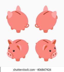 Isometric piggy bank. The objects are isolated against the white background and shown from different sides