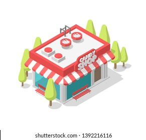Isometric pink candy shop. Street cafe. Coffee shop single building small kiosk. Showcase entrance signboard, trees. Vector illustration.