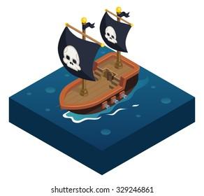 Isometric pirate ship 3d Icon symbol sea background flat vector illustration