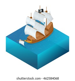Isometric Pirate Ship with Jolly Roger on water. Vector illustration