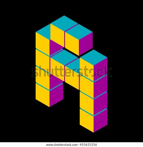 Isometric Pixel Letter 3d Letter C Stock Vector (Royalty