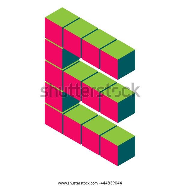 isometric pixel letter e  3d letter e  isometric red e abc  alphabet on