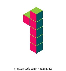 isometric pixel number 1. 3D letter 1. Isometric red 1. Number one on white. pixel number, isometric lettering.3d 1. Geometric alphabet, Cube font. Cube letters. 3d pixel number, Word elements 1 one