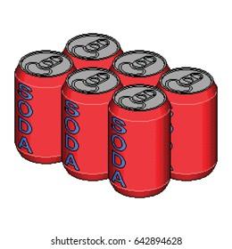 Isometric Pixel Soda Six Pack