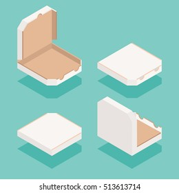 Isometric pizza order boxes set.