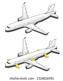 Isometric Plane Airplane Slide. Plane 3d Illustration Vector.