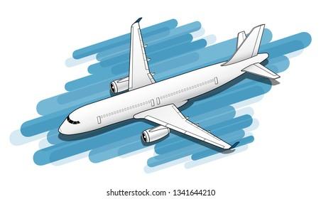 Isometric Plane Airplane Slide. Plane 3d Illustration.