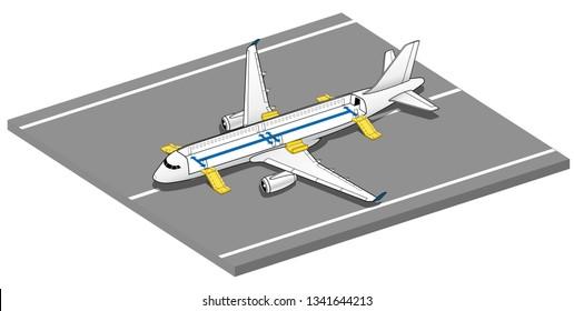 Isometric Plane Crash Airplane Slide . Airbus Window Rescue. emergency evacuation slides deployed. Plane 3d Illustration Vector.