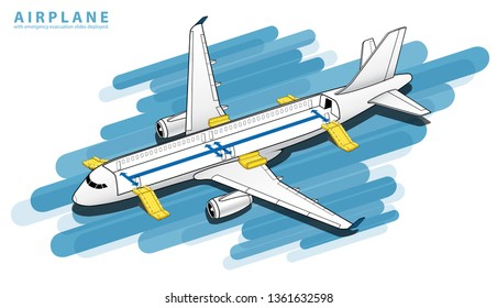 Isometric Plane Crash Airplane Slide . Airbus Window Rescue. emergency evacuation slides deployed. Plane 3d Illustration Vector