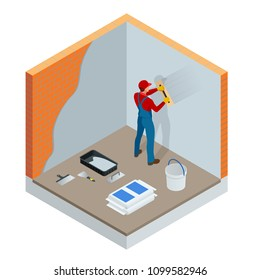 Isometric plasterer renovating indoor walls and ceilings with float and plaster. Construction finishing works. Construction building industry, new home, construction interior. Vector illustration.