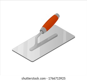Isometric plastering trowel isolated on white background. Colorful trowel vector icon for web design. Four-sided stucco trowel with red plastic handle. Construction tool. Vector illustration. 3D.