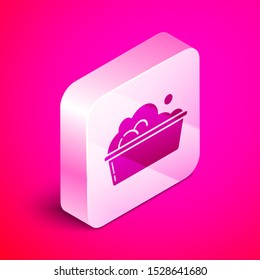 Isometric Plastic basin with soap suds icon isolated on pink background. Bowl with water. Washing clothes, cleaning equipment. Silver square button. Vector Illustration