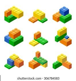 Isometric Plastic Building Blocks and Tiles