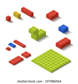 Isometric Plastic Lego Building Blocks and Tiles