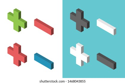 Isometric plus and minus signs of various colors. Graphic elements set. Addition, subtraction, positive and negative concept. Flat design. Eps 8 vector illustration, no transparency, no gradients