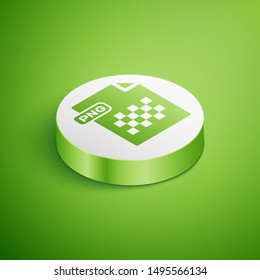 Isometric PNG file document. Download png button icon isolated on green background. PNG file symbol. White circle button. Vector Illustration