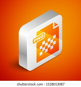 Isometric PNG file document. Download png button icon isolated on orange background. PNG file symbol. Silver square button. Vector Illustration