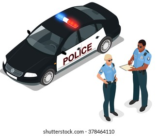 Isometric Police car, cruiser, prowler, squad car, radio mobile patrol RMP. Policeman in uniform. Isometric people. Can be used for infographics game or mobile apps icon.