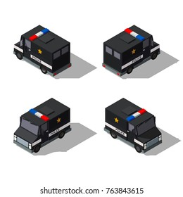 isometric police van. Vector illustration of armored special forces vehicle.