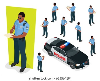 Isometric police-officer in uniform and police-car. Vector illustration Isolated on white background. Police officer emergency service car driving street