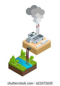 Isometric Pollution of the environment concept. The plant pours dirty water into the river, the pipes smoke and pollute the air. Let's save the Earth. For infographics and design