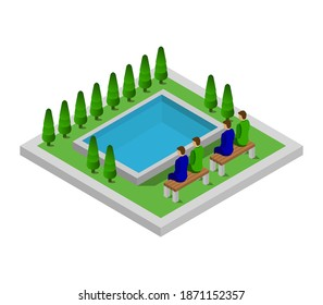 Isometric Pool On A White Background Vector Graphic Illustration.