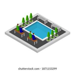 Isometric Pool Vector Graphic Illustration.