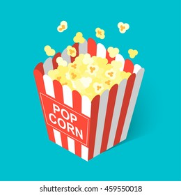 Isometric popcorn icon, vector illustration.
