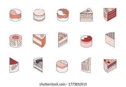 isometric portion piece of cake stock vector set