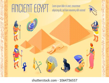 Isometric poster with various symbols of ancient egypt pyramids pharaohs egyptian gods 3d vector illustration